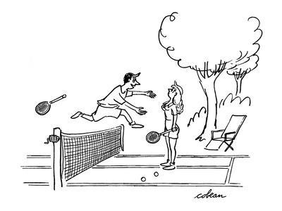 Man jumps over tennis net after game, to embrace attacative woman. - New Yorker Cartoon