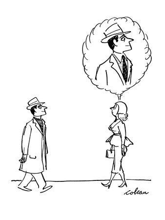 Woman walks along and sees clergyman.  She imagines him without the Roman ? - New Yorker Cartoon