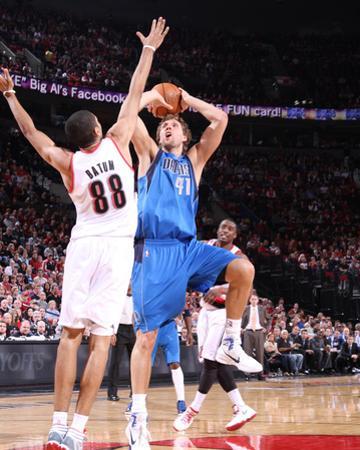 Dallas Mavericks v Portland Trail Blazers - Game Three, Portland, OR - APRIL 21: Dirk Nowitzki and