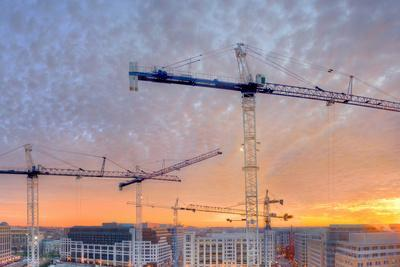 Panorama of a Building Site in Washington, District of Columbia, at Sunset
