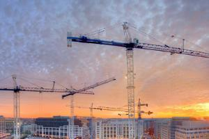 Panorama of a Building Site in Washington, District of Columbia, at Sunset by Sam Kittner