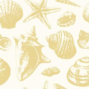 Seashells Pattern Gold Repeat Tile by Sam Nagel
