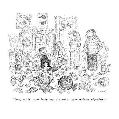 """Sam, neither your father nor I consider your response appropriate."" - New Yorker Cartoon-Edward Koren-Premium Giclee Print"