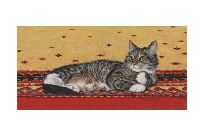 Sam on Patterned Rug-Janet Pidoux-Giclee Print