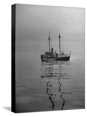 "Lightship ""Nantucket"" Riding Anchor Near Quicksand Shallows to Warn Away Other Ships"
