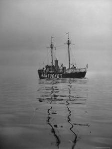 """Lightship """"Nantucket"""" Riding Anchor Near Quicksand Shallows to Warn Away Other Ships by Sam Shere"""