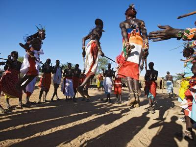 Samburu People Dancing, Laikipia, Kenya-Tony Heald-Photographic Print