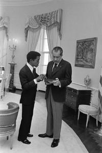 Sammy Davis Jr. with Richard Nixon in the Oval Office. March 4 1973