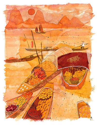 Sampans at Sunset-Liz Myhill-Art Print