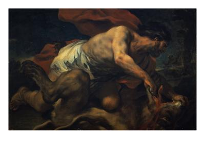 Samson and the Lion-Luca Giordano-Giclee Print
