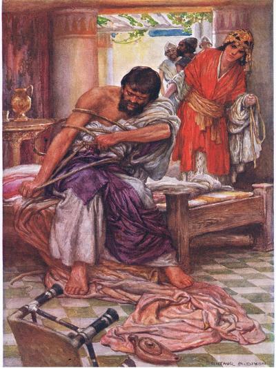 Samson Broke the Ropes That Bound Him-Arthur A^ Dixon-Giclee Print