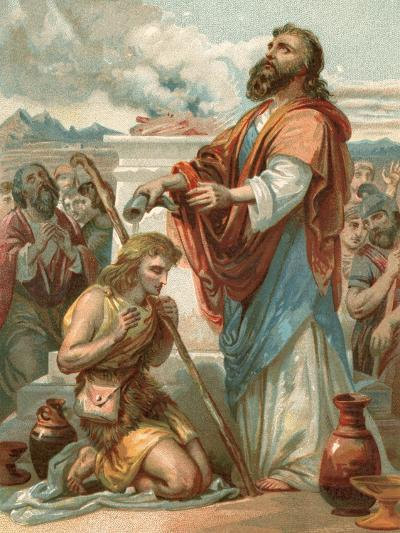 Samuel Anointing David King of Israel-English School-Giclee Print