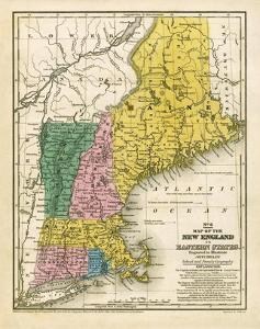 Map of the New England or Eastern States, c.1839 by Samuel Augustus Mitchell