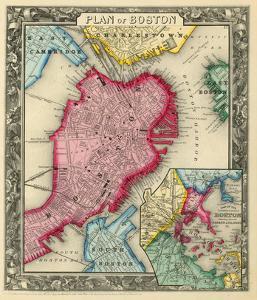 Plan of Boston, c.1860 by Samuel Augustus Mitchell