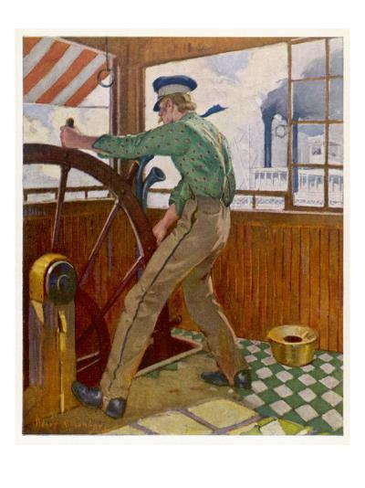 Samuel Clemens ('Mark Twain') Takes the Wheel in the Cabin of a Mississipi River Steamer--Giclee Print