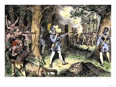 Samuel de Champlain and His Huron Indian Allies Fighting the Iroquois Near Lake Champlain, c.1609--Giclee Print
