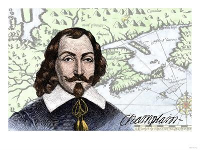 Samuel De Champlain and His Map of the Gulf of St. Lawrence, Canada--Giclee Print