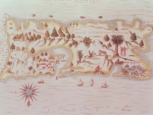 Map of the Island of Puerto Rico, 1599 by Samuel de Champlain
