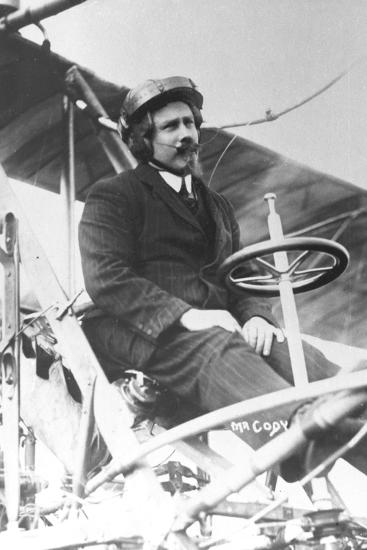Samuel Franklin Cody (1862-191) in His Biplane--Photographic Print