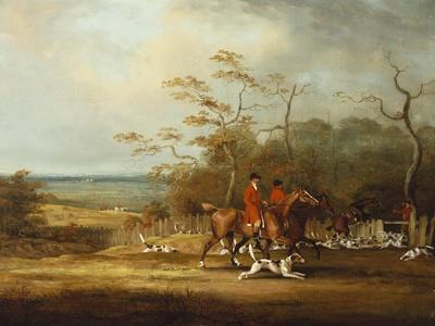 Drawing Cover-Huntsmen and Hounds in an Extensive Wooded Landscape, 1807