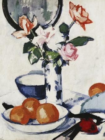 Pink and Tangerine Roses in a Blue and White Beaker Vase with Oranges in a Bowl and a Black Fan,… by Samuel John Peploe