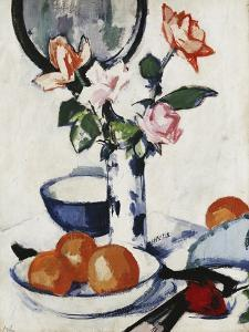Pink and Tangerine Roses in a Blue and White Beaker Vase with Oranges in a Bowl and a Black Fan by Samuel John		 Peploe