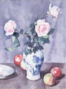 Still Life of Roses in a Blue and White Vase by Samuel John Peploe
