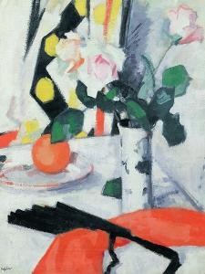 Still Life: Roses in a Chinese Vase with Black Fan, 1924 by Samuel John Peploe