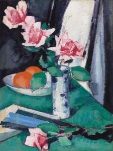 Still Life with Pink Roses and Oranges in a Blue and White Vase by Samuel John Peploe