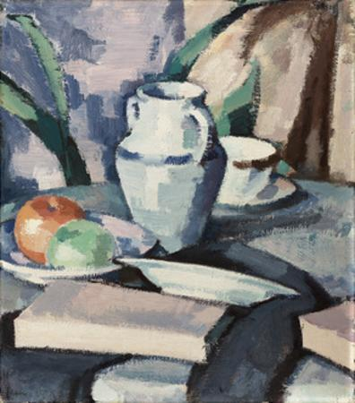 Still Life with Vase and Books by Samuel John Peploe