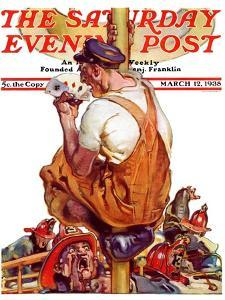 """""""Fireman with Winning Hand,"""" Saturday Evening Post Cover, March 12, 1938 by Samuel Nelson Abbott"""