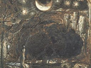 A Shepherd and His Flock under the Moon and Stars, C.1827 by Samuel Palmer