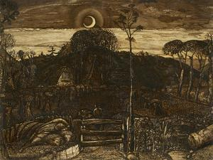 Late Twilight, 1825 (Pen and Dark Brown Ink with Brush in Sepia Mixed with Gum Arabic; Varnished) by Samuel Palmer