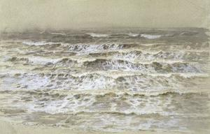 Study of Waves (Grey and Brown Wash, Gouache and Graphite on Paper) by Samuel Palmer