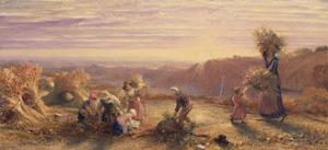 Sunset over the Gleaning Fields, 1855 by Samuel Palmer