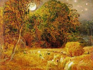 The Harvest Moon, 1833 (Oil on Paper Laid on Panel) by Samuel Palmer