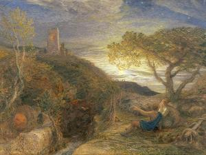 The Lonely Tower, 1868 (W/C and Bodycolour and Gum Arabic on London Board) by Samuel Palmer