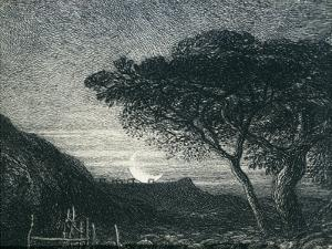The Lonely Tower, from Il Penseroso, Night Sky with Moon Setting on the Horizon, 19th Century by Samuel Palmer