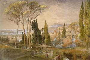 View from the Villa D'Este at Tivoli, 1839 by Samuel Palmer