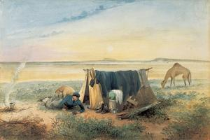 Invalid's Tent, Salt Lake 75 Miles North-West of Mount Arden, 1846 by Samuel Thomas Gill