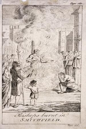 Protestant Bishops Being Burnt at Smithfield, During the Reign of Mary I, 16th Century, (C176)