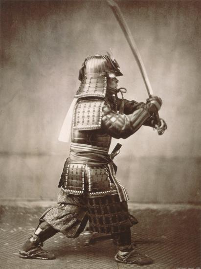Samurai Brandishing Sword--Art Print