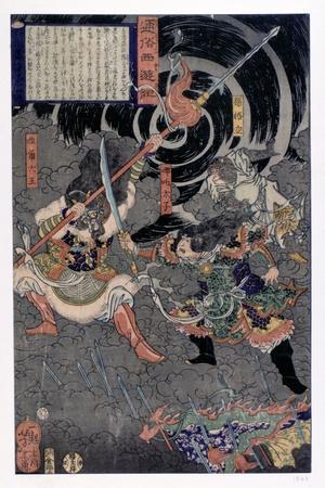Samurai Fighting Against Monkeys, 19th Century--Giclee Print