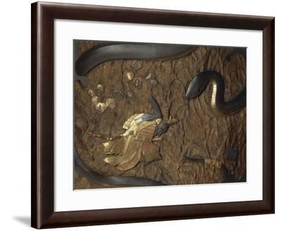 Samurai Nitta Yoshisada Praying to Buddha Vairocana in Shape of Sea Dragon--Framed Giclee Print