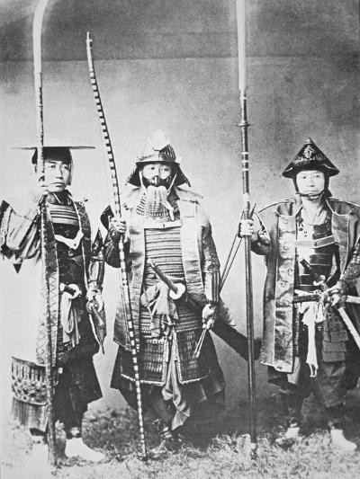 Samurai of Old Japan Armed with Long Bow, Pole Arms and Swords--Photographic Print