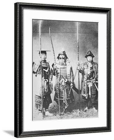 Samurai of Old Japan Armed with Long Bow, Pole Arms and Swords--Framed Photographic Print