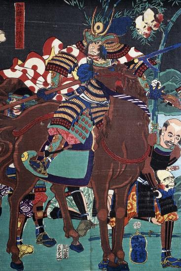 Samurai on Horseback Preparing to Go Battle--Giclee Print
