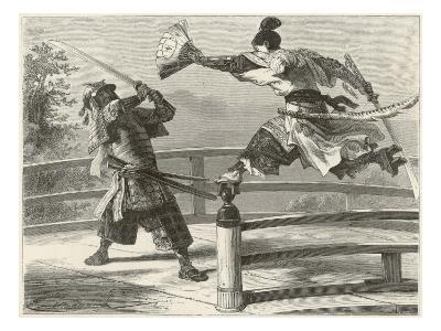 Samurai Warriers Fighting--Giclee Print