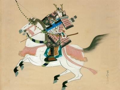 Samurai Warrior Riding a Horse, a Japanese Painting on Silk, in a Traditional Japanese Style--Giclee Print