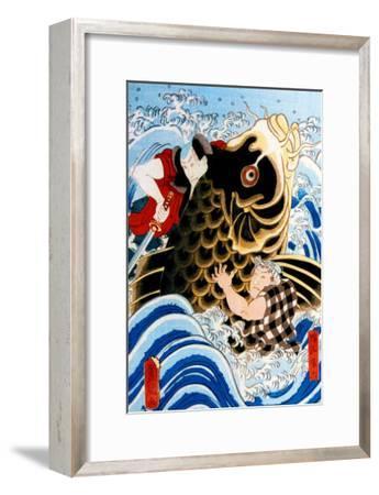 Samurai Wrestling Giant Koi--Framed Giclee Print